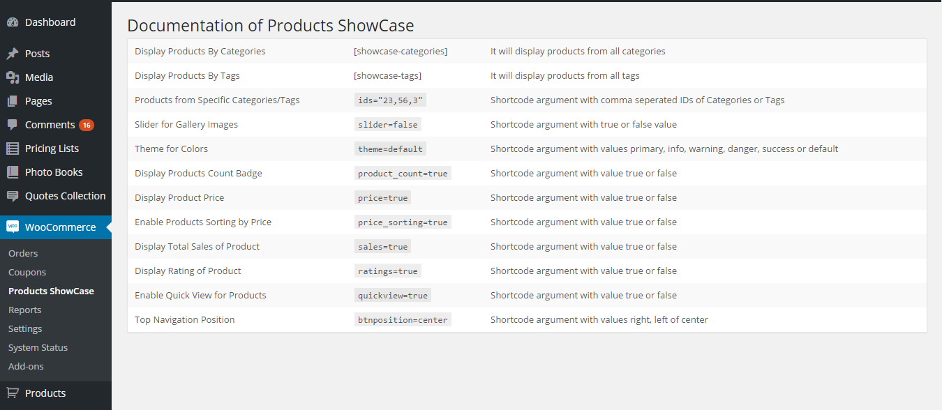 WooCommerce Products ShowCase Settings